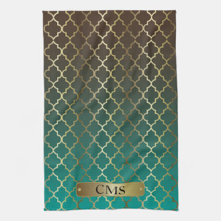 Quatrefoil Teal and Dark Brown Blend Tea Towel