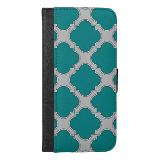 Quatrefoil teal and gray iPhone 6/6s plus wallet case