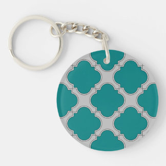 Quatrefoil teal and gray key ring