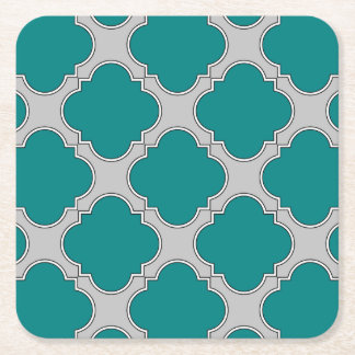 Quatrefoil teal and gray square paper coaster