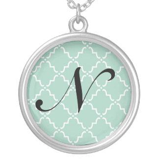 Quatrefoil Turquoise Round Initial Necklace