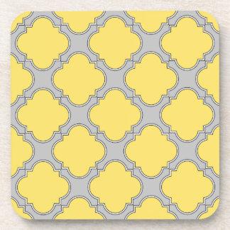 Quatrefoil yellow and gray coaster