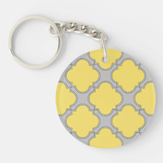 Quatrefoil yellow and gray key ring