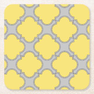 Quatrefoil yellow and gray square paper coaster