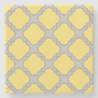 Quatrefoil yellow and gray stone coaster