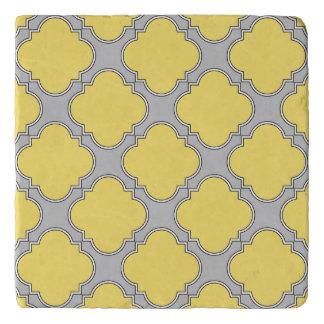 Quatrefoil yellow and gray trivet