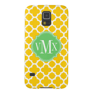 Quatrefoil Yellow and White Pattern Monogram Galaxy S5 Case