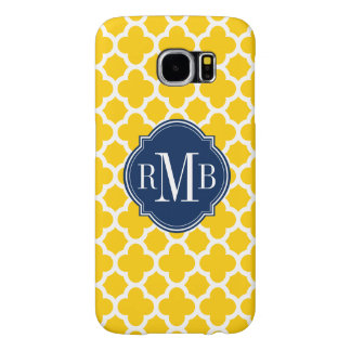 Quatrefoil Yellow and White Pattern Monogram Samsung Galaxy S6 Cases