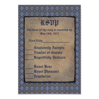 "Quatrefoils Gold on Blue 3.5"" X 5"" Invitation Card"