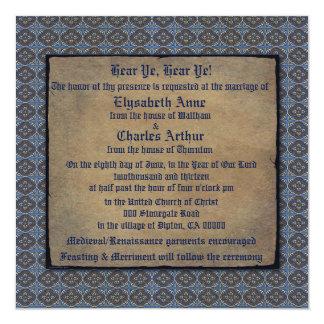"Quatrefoils Gold on Blue 5.25"" Square Invitation Card"