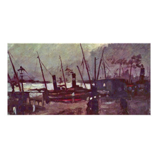 Quay In Antwerp By Ship By Vincent Van Gogh Photo Card