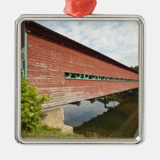 Quebec, Canada. Galipeault covered bridge in Silver-Colored Square Decoration
