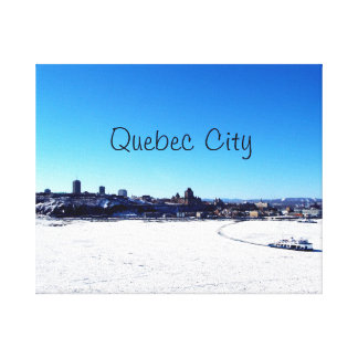 Quebec City and St. Lawrence River On Winter Canvas Print