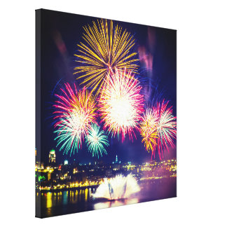 Quebec City Background | Colorful Fireworks Canvas Print