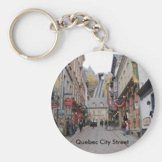 Quebec City Street Basic Round Button Key Ring
