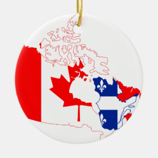 Quebec in Canada flag, map Ceramic Ornament