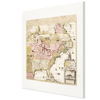 Quebec/Nouvelle-France medieval french map America Canvas Print