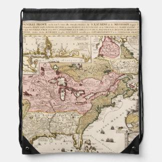 Quebec/Nouvelle-France medieval french map America Drawstring Bag