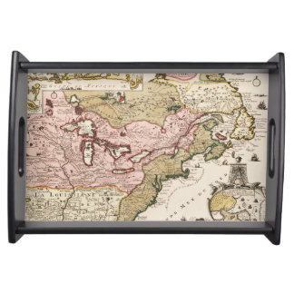 Quebec/Nouvelle-France medieval french map America Serving Tray