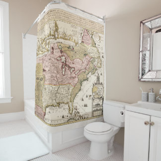 Quebec/Nouvelle-France medieval french map America Shower Curtain