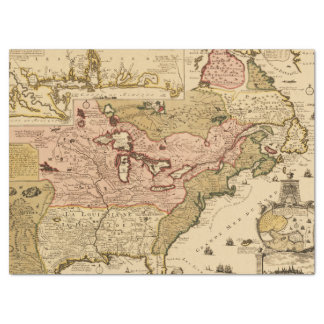 Quebec/Nouvelle-France medieval french map America Tissue Paper