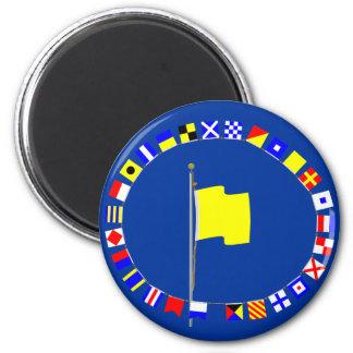 Quebec Request Pratique Nautical Signal Flag 6 Cm Round Magnet