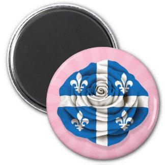 Quebec Rose Flag on Pink 6 Cm Round Magnet