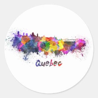 Quebec skyline in watercolor round sticker