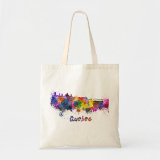Quebec skyline in watercolor tote bag