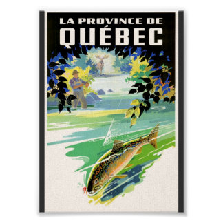 Quebec Travel Poster of Fisherman and Trout