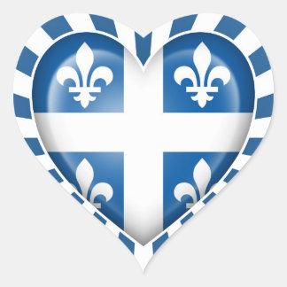 Quebecois Heart Flag with Star Burst Heart Sticker
