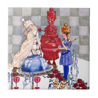 Queen Alice, the Red Queen and The White Queen Small Square Tile