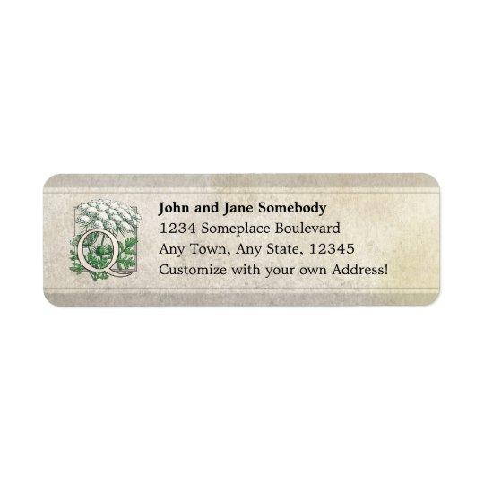 Queen Anne's Lace Flower Monogram Return Address Label