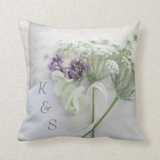 Queen Anne's lace with script Cushion