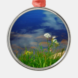 Queen Ann's lace flowers, blue mountain lake Silver-Colored Round Decoration