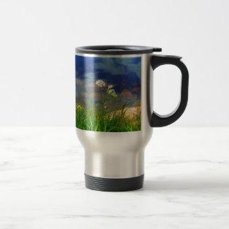 Queen Ann's lace flowers, blue mountain lake Travel Mug