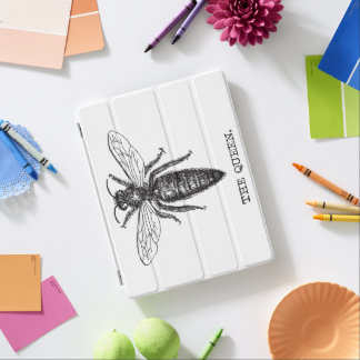 Queen Bee Black and White Illustration iPad Cover