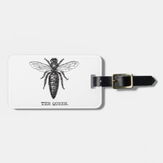 Queen Bee Black and White Illustration Luggage Tag