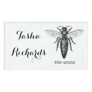 Queen Bee Black and White Illustration Name Tag