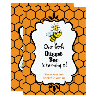 Queen Bee Cute Bumble Bee with Crown Birthday Card