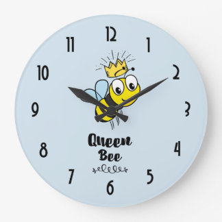 Queen Bee Cute Bumble Bee with Crown Large Clock