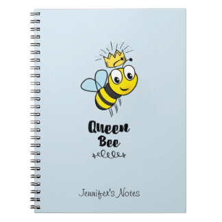 Queen Bee Cute Bumble Bee with Crown Personalized Notebooks