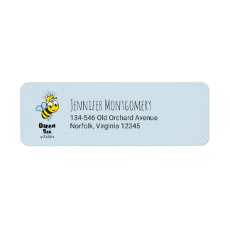 Queen Bee Cute Bumble Bee with Crown Return Address Label