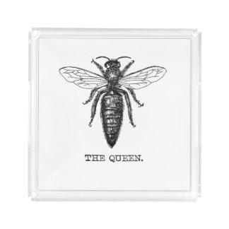 Queen Bee Drawing Vintage Black Acrylic Tray