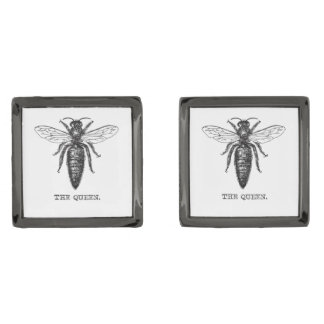 Queen Bee Drawing Vintage Black Gunmetal Finish Cuff Links
