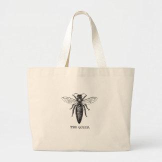 Queen Bee Drawing Vintage Black Large Tote Bag