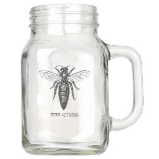 Queen Bee Drawing Vintage Black Mason Jar