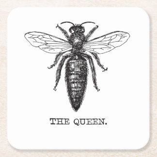 Queen Bee Drawing Vintage Black Square Paper Coaster