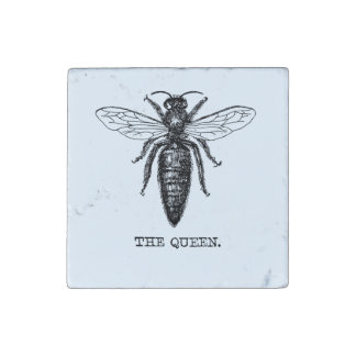 Queen Bee Drawing Vintage Black Stone Magnet