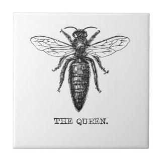 Queen Bee Drawing Vintage Black Tile